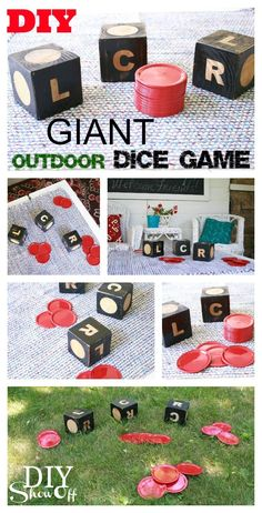 DIY Projects - Outdoor Games -GIANT DIY Dice Game of LCR - So much fun for backyard parties and barbecues - Tutorial via DIY Show Off lawngames Diy Yard Games, Backyard Games, Backyard Parties, Backyard Bbq, Yard Games For Kids, Kids Yard, Outdoor Twister, Yard Dice, Diy Spring