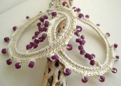 Ivory Cream - Lace Earrings - Beige Earrings