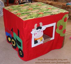 Pretend Farm Playhouse fits over card table with tractor, cows and horse--