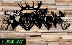 Animal collage Deer Bear metal wall art by SCHROCKMETALFX on Etsy