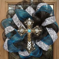 Turquoise, black, and zebra print deco mesh wreath. on Etsy, $80.00
