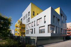 Building with zinc facade, RHEINZINK - reveal panel in preweathered bluegrey