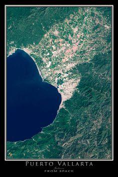 Puerto Vallarta Mexico From Space Satellite Art Poster