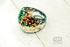 Glitter Resin Ring. US Size 9.5 Gold leaf Ring. Domed 1960's Ring. Glitter Jewelry. Handmade Irish. Party Ring. Glamorous. Sparkling.