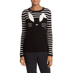 Women's Kate Spade New York Bunny Wool Blend Sweater (365 CAD) ❤ liked on Polyvore featuring tops, sweaters, stripe top, embroidered top, wool-blend sweater, kate spade and embroidered sweaters