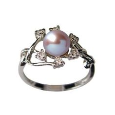 Entwining Vine Cultured Pearl Cubic Zirconia Ring in Platinum