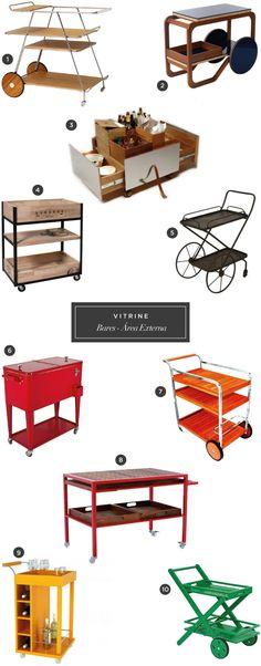 10 carrinhos de chá e bar para áreas externas