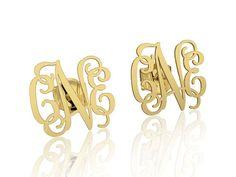 Gold Monogram earrings 14k Personalized Name Earrings, letter earrings initial earring, nameplate earrings, custom earrings