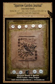 Sparrow Garden Journal Cross Stitch Pattern Instant by Kanikis