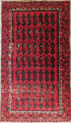 "Semi antique Afghan Baluchi rug. 100% wool. 3'x 5'4"" #Handknotted #Geometrictribal"
