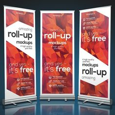 Free Roll-up banner mockup that pesents you 4 PSD files in dimensions 3000 x 2000 px and they can easily editable via smart objects. The roll-up st. Banner Design, Behance, Rollup Design, Ready For Change, Pop Up Banner, Billboard Signs, Banner Stands, Change Background, Banner Template