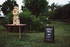 Our Giant Jenga and Corn Hole at Khimaira Farm Virginia Farm Wedding Games  Rustic Farm Wedding Reception in Virginia: Libby + Joe
