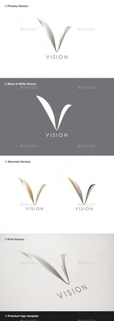 vision abstract letter v logo vector eps coporate bird available