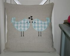 Laura Ashley Natural Austin Cushion Cover with Duck Egg Love Birds Applique