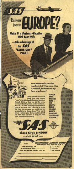 "Scandinavian Airlines System's Business-Vacation ""Extra-City"" Plan – Business Trip to Europe? (1953)"