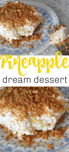 Pineapple dream is one of those perfect potluck desserts. Cream cheese, pineapple, whipped cream and graham crackers, yum! Potluck Desserts, Summer Desserts, No Bake Desserts, Easy Desserts, Delicious Desserts, Baking Desserts, Baked Pineapple, Pineapple Desserts, Pineapple Dream Cake