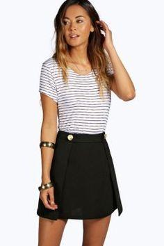 Gloria Gold Button Detail Pleat A line Mini Skirt at boohoo.com