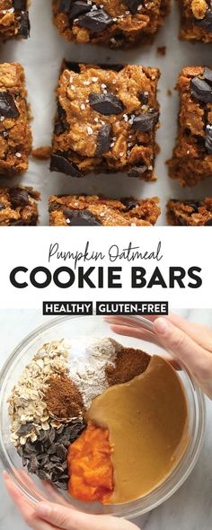 Say hello to the more glorious fall dessert you've ever feasted your eyes on — Pumpkin Oatmeal Cookie Bars made with maple syrup, cashew butter, and pumpkin puree! Source by FitFoodieFinds Oatmeal Cookie Bars, Pumpkin Oatmeal Cookies, Pumpkin Dessert, Healthy Oatmeal Cookies, Healthy Dessert Recipes, Healthy Baking, Vegan Desserts, Healthy Desserts, Pumpkin Recipes