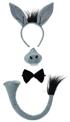Donkey Ears Nose Tail Bow Tie Set Kit Animal Fancy Dress Costume Book Week P6382 #Unbranded
