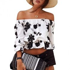 New Women Sexy Off Shoulder Flower Loose Casual Crop Tops Blouse