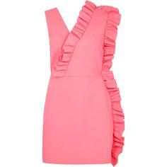 MSGM Pink Ruffle-trimmed Dress ($525) ❤ liked on Polyvore featuring dresses, pink ruffle dress, frilly dresses, flouncy dress, frill dress and flounce dress