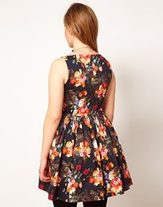 ASOS CURVE Dolly Skater In Photographic Floral-- This looks like faux D + G and I approve
