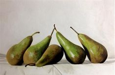 """Daily Paintworks - """"Five Pears"""" - Original Fine Art for Sale - © James Coates"""