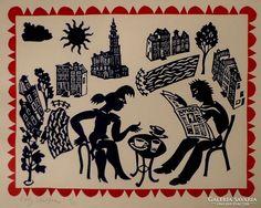 Linocutprint of Amsterdam - Eddy Varekamp
