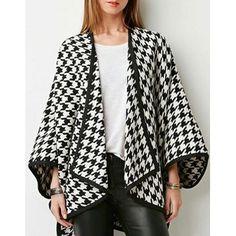 Noble Turn-Down Collar Long Sleeve Houndstooth Asymmetrical Women's Coat