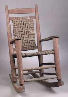 An Antique Southern Pine Red Painted Youth Rocking Chair, 19th C., The Back