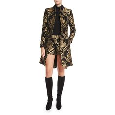 Alice + Olivia Raye Baroque Embroidered Coat featuring polyvore, women's fashion, clothing, outerwear, coats, multi colors, women's apparel coats, alice olivia coat, slim fit coat, military coat, embroidered coat and pleated coat