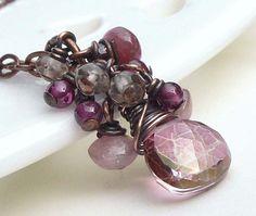 Dusty Rose Quartz Wire Wrapped Copper Necklace
