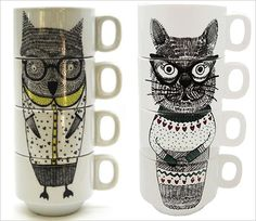 Owl and Cat Storybook Stacking Cups