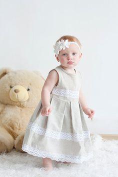 Linen girl dress  Rustic Flower girl dress by lefthandedcraftclub, $45.99