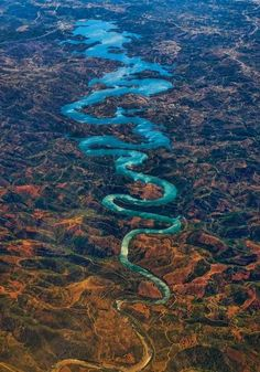 "Odeleite River (a. ""The Blue Dragon River""), Algarve, Castro Marim, Portugal. ""The river is also known as 'The Blue Dragon River' because of its dark blue color and curvy shape. Amazing Places On Earth, Places Around The World, Oh The Places You'll Go, Places To Travel, Places To Visit, Around The Worlds, Amazing Things, Dragon Bleu, Blue Dragon"