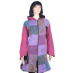 STUNNING LONG RIB COTTON JACKET WITH PATCH WORK  Want to feel comfortable yet stylish? Then look no further than this funky bohemian jacket with its colourful patchwork design and striking shapes and symbols. Flattering sleeves and a fitted upper torso give way to a gentle a-line hem.  Unit Price: US$32.29