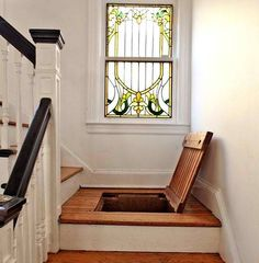 Eclectic Staircase Design, Pictures, Remodel, Decor and Ideas - page 6 --- love the way to save space but this kind of creeps me out--- that horror flick where the victim gets hidden under the stairs, floorboards, etc.