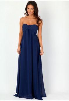 Harriet Gathered Chiffon Look Maxi Dress