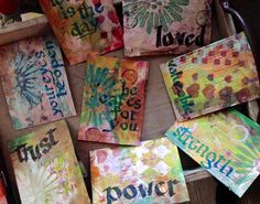 Mixed media cards to be given to women at a ladies conference to share God's love with them.