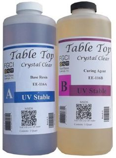 Epoxy Table Top Resin, 1:1, 2 Quart Kit, Crystal Clear, Parts A & B Included Fiberglass Coatings. Truly crystal clear and bubble free (watched a youtube comparison)