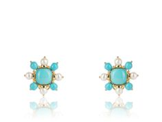 18KYG Turquoise & Fresh Water Pearl Earrings $ 2,975  18 karat yellow gold post clip earrings consisting of 10 round cabochon shaped. turquoise accents set with 8 fresh water pearls.. By Mazza.
