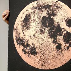 Metallic Moon Print - Copper #print #moon #screenprint