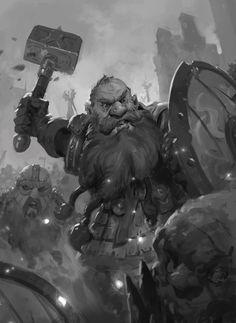 m Dwarf Fighter Hvy Armor Shield WarHammer Battle Town night army By Prospass Fantasy Dwarf, Fantasy Rpg, Medieval Fantasy, Character Concept, Character Art, Concept Art, Vikings, Fantasy Races, Wow Art