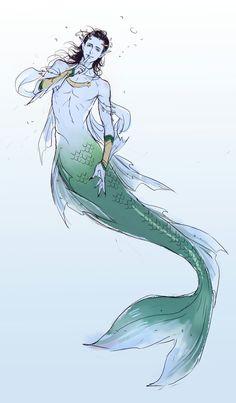 Loki as a merman. Loki Art, Thor X Loki, Loki Marvel, Character Drawing, Character Design, Grell Black Butler, Mermaid Man, Mermaid Drawings, Mermaids And Mermen