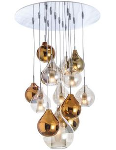 Concept Verre: Circé is a glass suspension lamp that can be hung alone or used in multiples. With two shapes (orb and teardrop) and several colors (including copper, gold and chrome metallics) to choose from