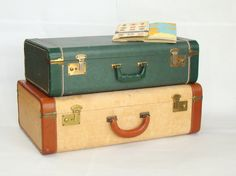 Vintage Green Suitcase; Vintage Luggage; Vintage Trunk; Emerald Green; Vintage Suitcase; Travel Decor; Travel Theme by PurpleMouseStories on Etsy