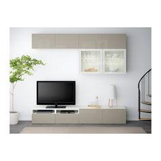 IKEA BESTÅ TV Storage Combination/glass Doors White/valviken Grey Turquoise  Clear Glass Cm The Drawers And Doors Close Silently And Softly,.
