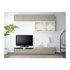 bestÅ tv storage combination/glass doors - hanviken/sindvik white ... - Tv Grau Beige