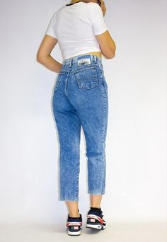 Vintage++High+Waist+Ankle+Grazer+Acid+Wash+Jeans