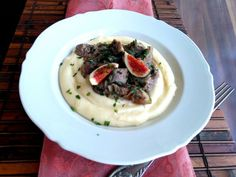 Velencei csirkemáj fügével és puliszkával Recept képpel - Mindmegette.hu - Receptek Risotto, Mashed Potatoes, Ethnic Recipes, Whipped Potatoes, Smash Potatoes